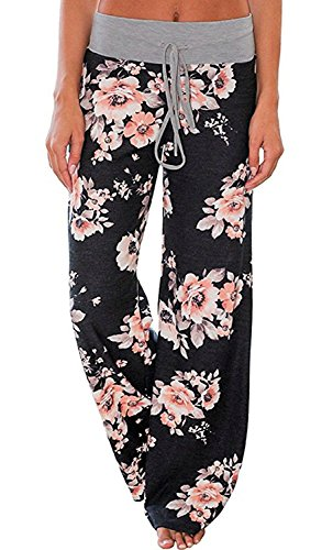 AMiERY Women's Floral Comfy Casual Palazzo Pants Pajamas for Womens Joggers High Waisted Wide Leg Pants Lounge Black S