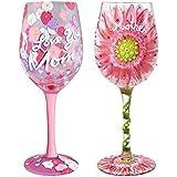 Santa Barbara Design Studio Lolita Hand-painted Artisan Wine Glass - I Love You Mom and Mom in Bloom Set