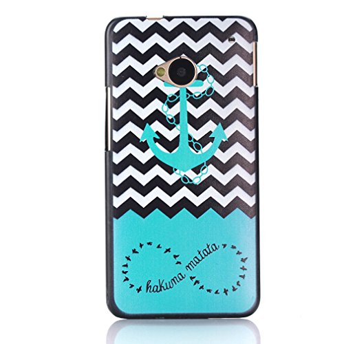 """For HTC ONE M7 , ivencase Waves and Anchor Style Pattern Hard Rear Protective Case Cover for HTC ONE M7 + One """"ivencase """" Anti-dust Plug Stopper"""