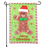 Merry Christmas Garden Flag – Gingerbread Man with Peppermint Trim – Winter Holiday Season Decoration – 12×18 Home Garden Flag Review