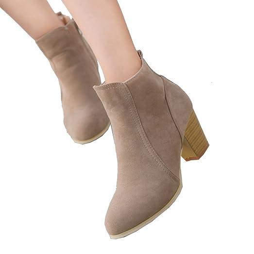 Sunshy Womens Ankle Short Ankle Cylinder Martin Boots (Khaki 37)