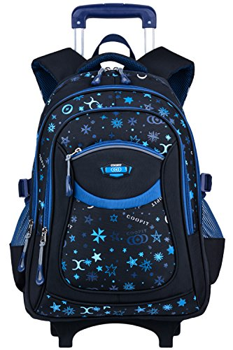 Wheels Rolling Backpack (Rolling Backpack, Coofit Wheeled Backpack School Kids Rolling Backpack With Wheels kids luggage (Coofit Originally Design Blue))