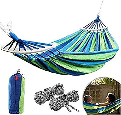 "CJ Ultra Outdoors ""Variation Cotton Fabric Canvas Travel Hammock Ultralight Camping Portable Beach Swing Bed Wood Spreader Tree Hanging Suspended Outdoor Indoor Bed"
