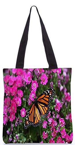 """Snoogg Schmetterling In Rosa Blume Einkaufstasche 13,5 X 15 In """"Shopping-Dienstprogramm Tragetasche Aus Polyester Canvas"""