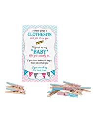 Lillian Rose Baby Gender Reveal Clothespin Game, Pink/Blue, 1...