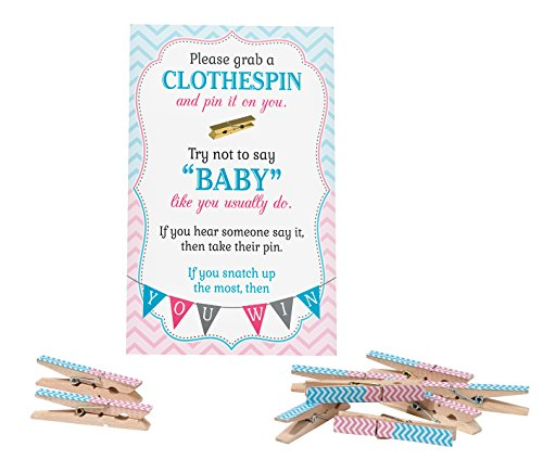 Lillian Rose Baby Gender Reveal Clothespin Game, Pink/Blue, 11.25