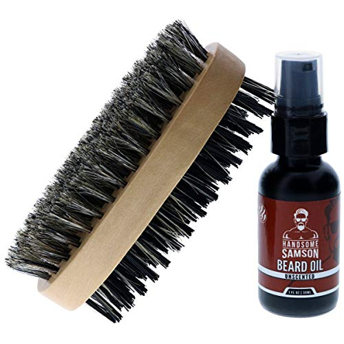 Handsome Samson Wild Growth Oil for Badass Beard Care with Beard Oil Hair Brush and Beard Straightener | unscented Beard OUL softens, Conditions to Support Rapid Beard Growth