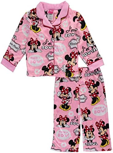 Disney Little Girls Minnie Mouse Peek a Bow Print 2 Pc Pajama Set Pink