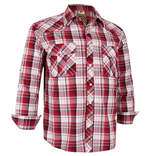 Coevals Club Men's Long Sleeve Casual Western Plaid Snap Buttons Shirt (3XL, 27# Red Plaid) (Red Western Shirts Mens)