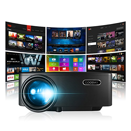 GooDay Projector, Smart Android WiFi Bluetooth Portable Video Beam(2018 Upgraded), +40% Lumens LED LCD Home Theater, for Movie Sports Games Match, Support 1080P W/ HDMI VGA AV USB Ports