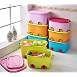 STAR WORK Large Plastic Stackable Organizer Storage Box Container Bin with Lid and Wheels for Kids Toys, Clothes-Multi Colors