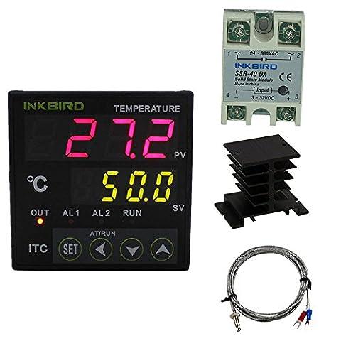 Inkbird Universal PID Temperature Controller SSR Ourput + Relay Alarm Output ITC-100 100 - 240V + 40DA SSR + Black Heat Sink + K Sensor(controller + Heat Sink + 40DA)