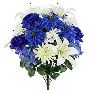 Admired By Nature GPB7357-BL/CM Faux Ranunculus Lily Hydrangea Mixed Flower Bush 59