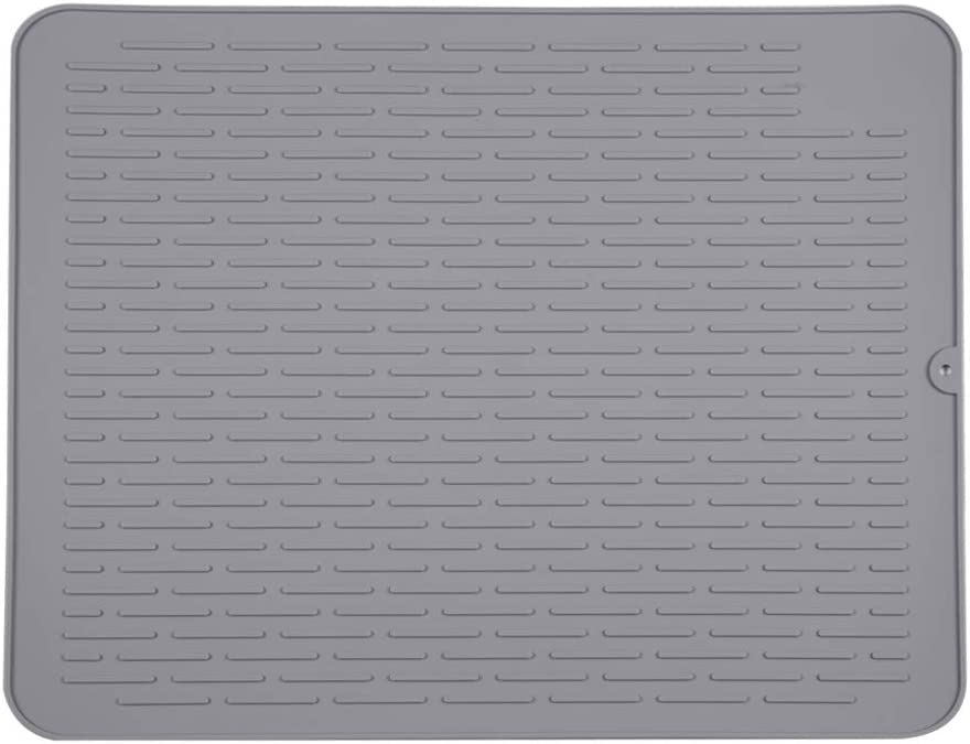 "Piduules Eco-friendly Silicone Dish Drying Mat 23"" x 18"" Large Reusable Non-slipping and Heat Resistant Dish Quick Drying Pad, Dishwasher Safe (Gray XXL)"