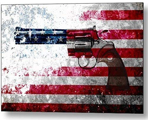 Colt Python 357 Mag & American Flag On Distressed Metal Printed on Small Metal Plate - Man Cave Decor - Patriotic Home Decor - Military Themed Gifts