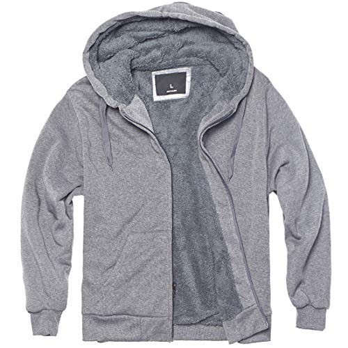 Plus Size S - 5XL Fleece Hoodies for Men Heavyweight Full Zip Up Long Sleeve Solid Black Grey Zipper Sherpa Lined Jackets (Light Grey, M)