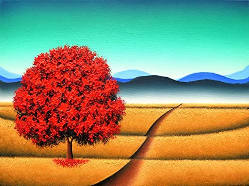 Amazoncom Textured Landscape Painting Fall Tree Art Red Tree