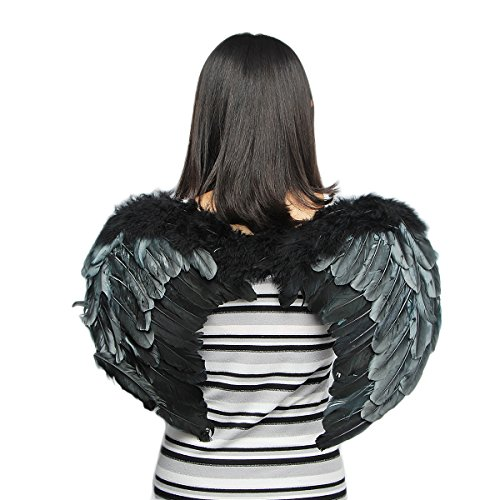 Tongyin Angel Feather Wings Christmas Carol Costume Accessory + Free Head-ring (L, Black)