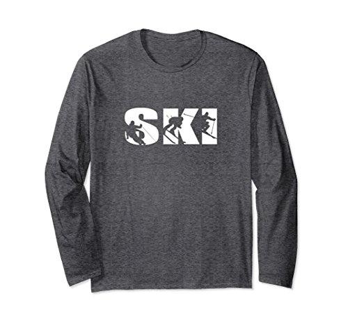 (Unisex Ski long sleeve t-shirt for skiing lovers silhouette skiers 2XL Dark Heather)