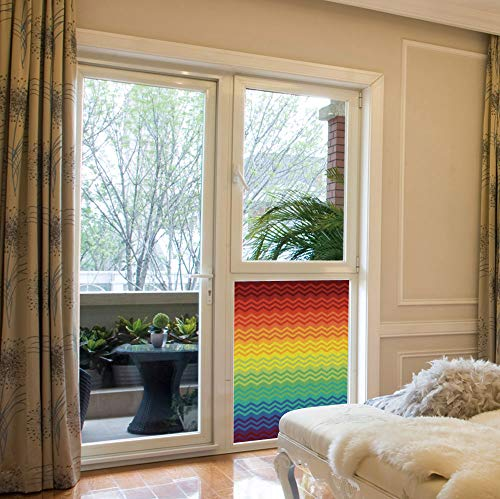 YOLIYANA Frosted Window Film Stained Glass Window Film,Fiesta,Work Well in The Bathroom,Mexican Inspired Colorful Chevron Zigzags Three Dimensional Pattern,17''x24''