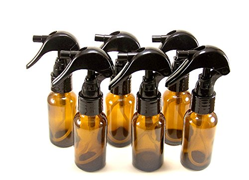 1 oz Amber Glass Spray Bottle/Vial with Small Black Trigger