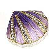 YUFENG Trinket Box Hinged Jewelry Bejeweled Trinket Boxes Ring Holder Figurine Collectible (purple shell)