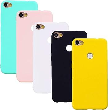 HereMore 5 x Funda para Xiaomi Redmi Note 5A/Note 5A Prime, Carcasa Protectora Mate en Silicona Gel Ultra Delgado Antigolpes Cubierta de Protección [Blanco,Negro,Rosa,Verde,Amarillo]: Amazon.es: Electrónica