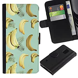 All Phone Most Case / Oferta Especial Cáscara Funda de cuero Monedero Cubierta de proteccion Caso / Wallet Case for Samsung Galaxy S5 V SM-G900 // Banana Teal Yellow Fruit Pattern Tropical