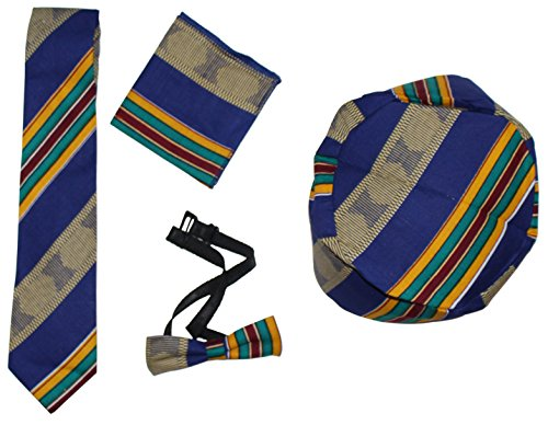 African Inspired Fashions Ethnic Kente Bow Tie Set Handkerchief Kufi Hat (B) (Ties African Inspired)