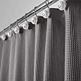 Gray Shower Curtain mDesign Hotel Quality Polyester/Cotton Blend Fabric Shower Curtain with Waffle Weave and Rustproof Metal Grommets for Bathroom Showers and Bathtubs - 72