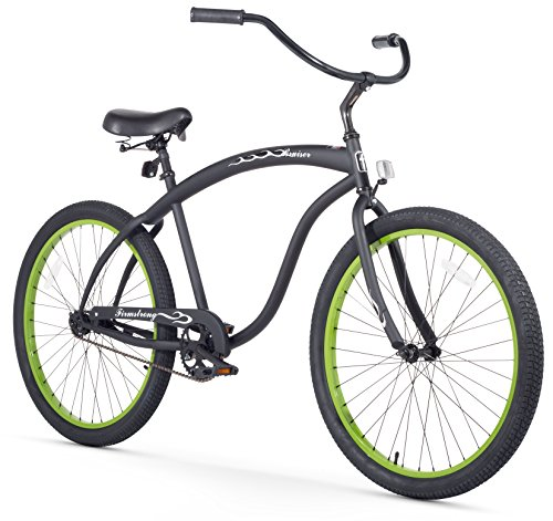 Firmstrong Bruiser Man Single Speed Beach Cruiser Bicycle, 26-Inch, Matte Black w/ Green Rims