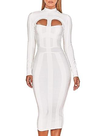 2e5c766d7d80 UONBOX Women's Sexy Cut Out Long Sleeves Midi Bodycon Party Bandage Dress ( XS, White