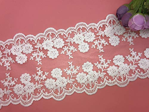 - 10CM Width Europe Daisy Wedding Applique Inelastic Embroidery Lace Trim,Curtain Tablecloth Slipcover Bridal DIY Clothing/Accessories.(2 Yards in one Package) (White)