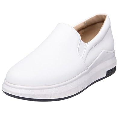 RAZAMAZA Women Casual Fashion Sneakers Elastic Band Athletic Sports Shoes (35 EU,White)