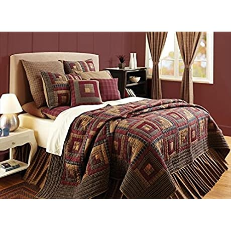 Quilt With Log Cabin Block Patchwork Luxury King 120 In L X 105 In W 10 5 Lbs
