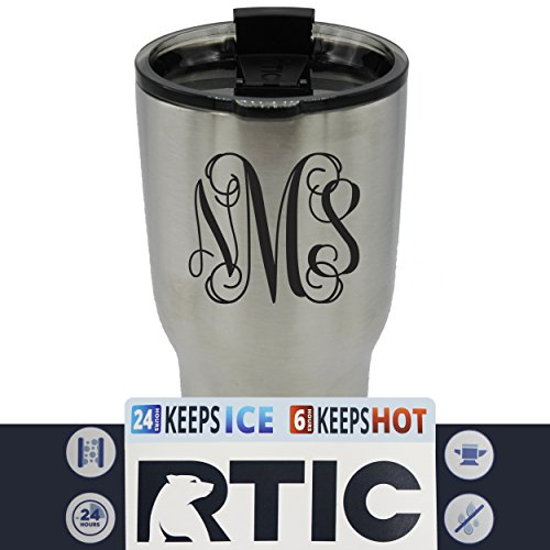 Engraved Vine - Custom RTIC 30 oz Tumbler Cup - Personalized and Monogrammed with Vine Monogram - NOT a Decal - Permanently Engraved (Stainless Steel)