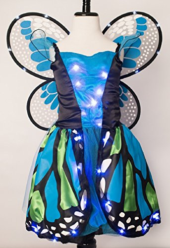 Light Up Girl Halloween Costumes (Blue and Green Girls Light Up Butterfly Costume with Light Up Wings (Size 6 to 8))