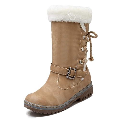 Botas de Nieve Invierno Mujer Pelo Forrada Calentar Cuero Planos Rodilla Altas Ante Piel Tacón Al Aire Libre Snow Boots Negro Marrón Beige Caqui Amarillo ...