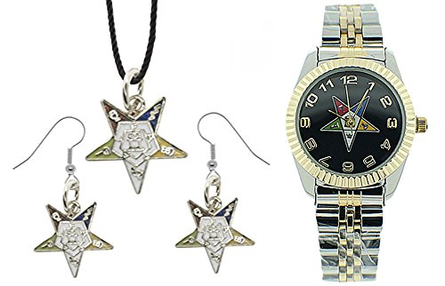 Mason Zone 3 Piece Jewelry Set - Order of The Eastern Star Pendant, Hook Earrings & Order of The Eastern Star Watch. OES Symbol on Silver Gold Duo Tone Steel Band Black Face
