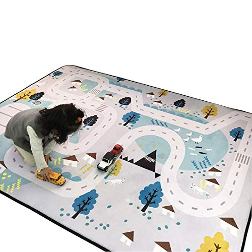 Play Village Car - Cusphorn Kids Carpet Playmat Rug Village Life Great For Playing With Cars and Toys Learn and Have Fun Educational Road Traffic Play Mat For Bedroom Play Room Game Mat