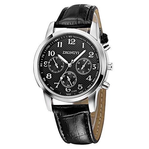 (Amaping Retro British Style Leather Band Business Leisure Watch Analog Alloy Quartz Wrist Watch for Men (Black))