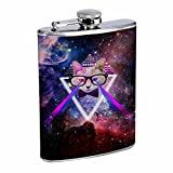 Have Fun Gifts Elegant Fine Touch Leak Proof Small Primo 18/8 Stainless Steel 8 OZ Flask with Personality Design with Octopus Skull Cat Trippy