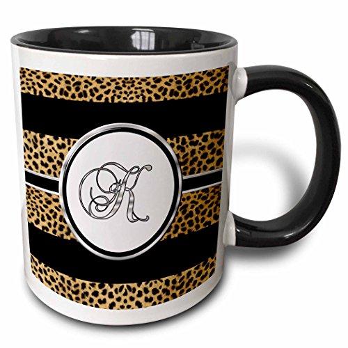 3dRose 180680_4 Elegant Cheetah Animal Print Monogram Letter K Two Tone Mug, 11 oz, Black