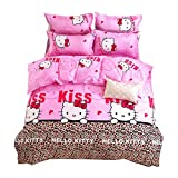 HOLY HOME My Daughter's Birthday Gift Bedding, Leopard Print & Hello Kitty Cat Duvet Cover Set 4 Piece Bedclothes Baby Pink, Queen