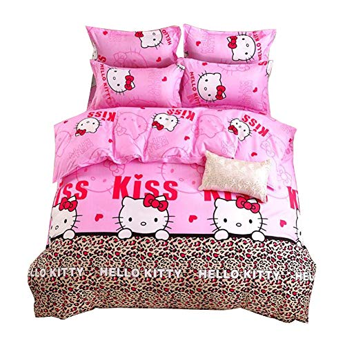 HOLY HOME My Daughter's Birthday Gift Bedding, Leopard Print & Hello Kitty Cat Duvet Cover Set 4 Piece Bedclothes Baby Pink, Full ()