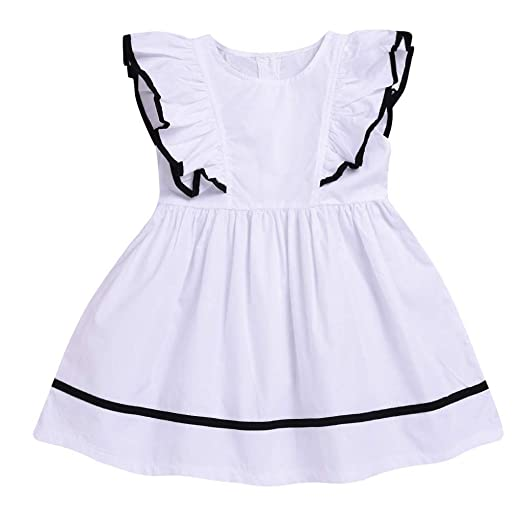 12d88b236a12 Summer Casual Solid Dress Little Baby Girls Small Fly Sleeve Princess Tutu Dress  Clothes Set (