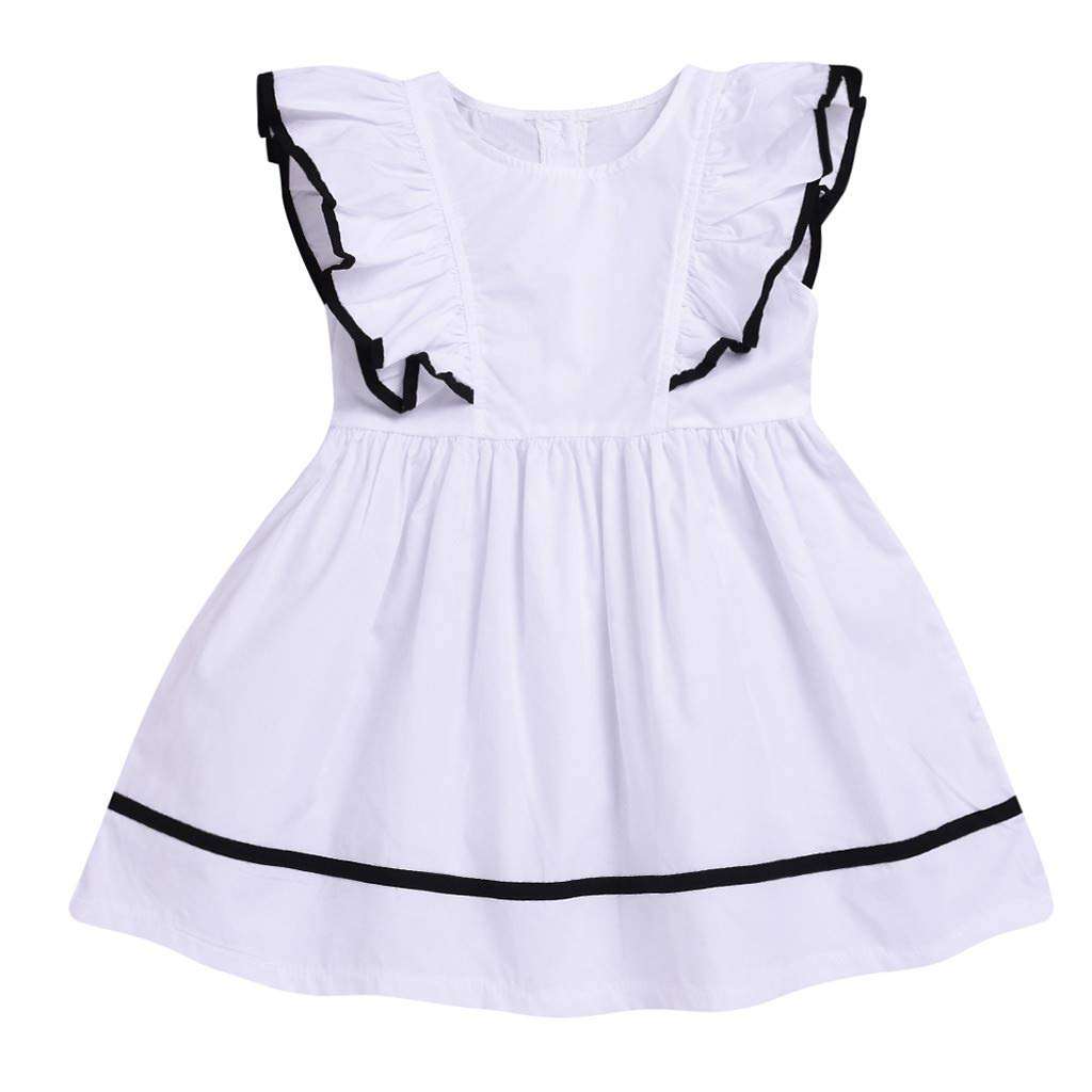 Jchen(TM) Little Kids Baby Girls Dress Fly Sleeve Ruffle Solid Color Princess Summer Casual Beach Dress for 1-5 Y (Age:4-5 Years Old, White)