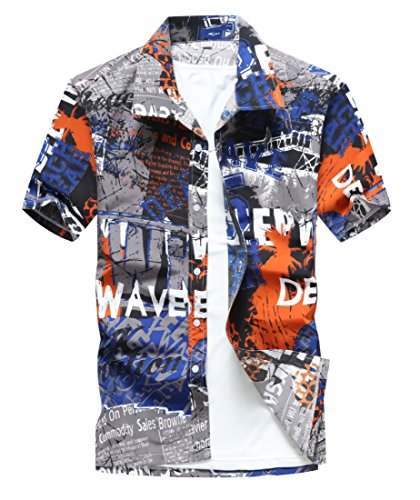 水族館侵略具体的に[ルビタス] 英字 プリント ロゴ 柄 メンズ 半袖 シャツ ボタン ダウン ジャケット ゴルフ ウェア