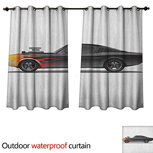 (Anshesix Cars Outdoor Ultraviolet Protective Curtains Custom Design Muscle Car with Supercharger and Flames Roadster Retro Styled W120 x L72(305cm x 183cm))