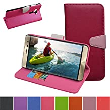 ZenFone 3 Case,Mama Mouth [Stand View] Flip Premium PU Leather [Wallet Case] With Card / Cash Slots and Pocket Cover For Asus ZenFone 3 ze552kl Smartphone 2016,Rose Red